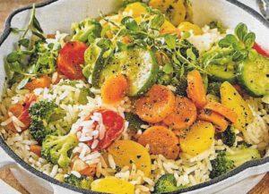 Gemüse Reis Pfanne