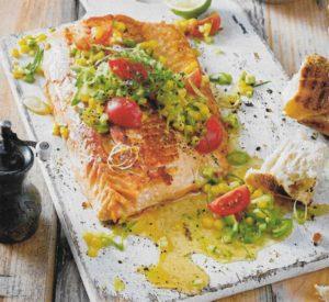 Lachsfilet mit Mango-Salsa-Sosse