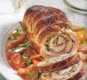 Rollbraten auf Gemüse
