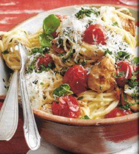 Spaghetti mit Hähnchenfilet und Tomaten