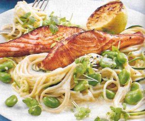 Lachs auf Spaghetti mit Bohnensoße