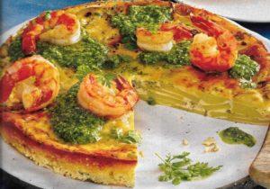 Garnelen-Pesto-Kartoffel Tortilla