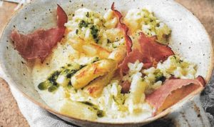 Spargel Risotto mit Bacon